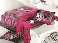 Постельное белье 160х220, сатин Gokay Safir бордовый.