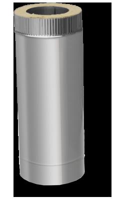 Труба двустенная дымоходная (1 м., 1.0 мм.) из нержавейки в оцинкованном кожухе