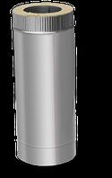 Труба двустенная дымоходная (0.5 м., 0.6 мм.) из нержавейки в нержавеющем кожухе