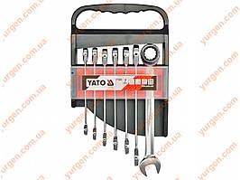 Набор комбинированных ключей с храповым механизмом YATO (код YT-0208).