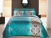 Семейное постельное белье 160х220х2, сатин Gokay  Embro Turkuaz цвет морской волны.