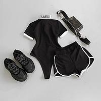 Комплект женский летний черная футболка-боди + короткие шорты черные СВЯТАЯ S M L (42 44 46)