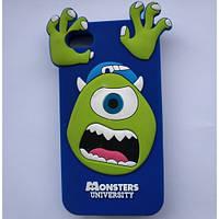 Детский чехол Monster для iPhone 4 / 4S Blue (3д чехол)