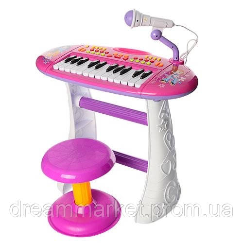 Детский Игровой Музыкальный Синтезатор-Пианино Юный виртуоз на ножках, стульчик и микрофон, РОЗОВЫЙ арт. 383