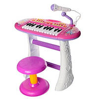 Детский Игровой Музыкальный Синтезатор-Пианино Юный виртуоз на ножках, стульчик и микрофон, РОЗОВЫЙ арт. 383, фото 1