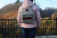 Городской рюкзак. Овальний сірий, ручна робота, handmade