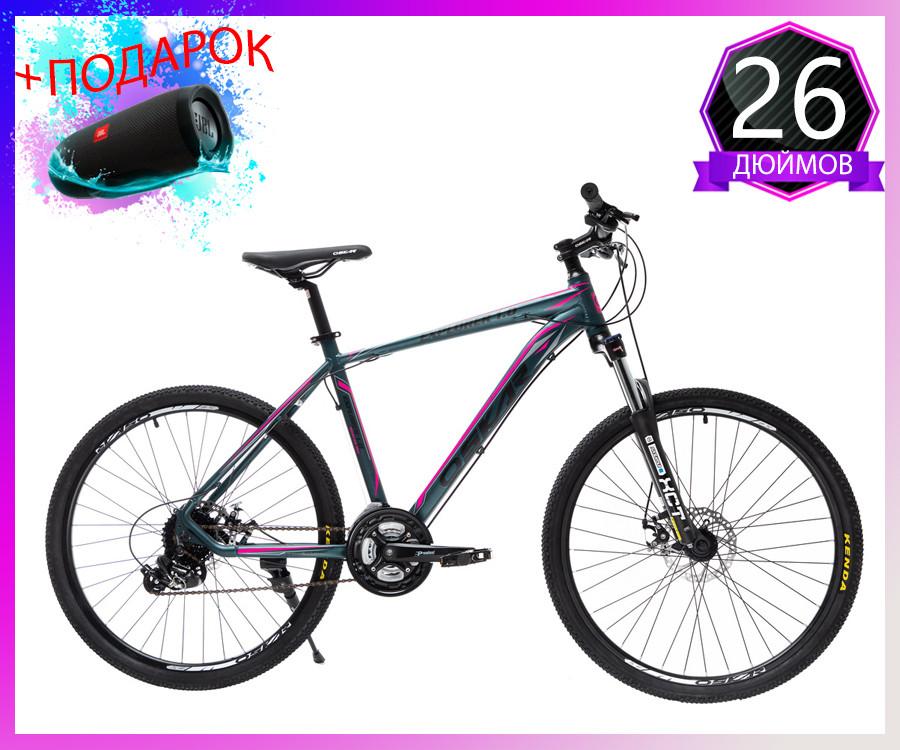 """Велосипед горный Oskar 26"""" 1804 Алюминий Черно-зелёный с амортизацией Хардтейл Велосипед гірський MTB зелений"""