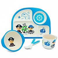 Дитяча бамбукова посуд 3 в 1 Пірат (блакитний)