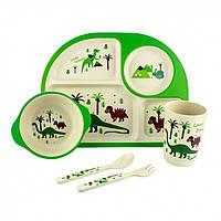 Дитяча бамбукова посуд 3 в 1 Динозаври (зелений)