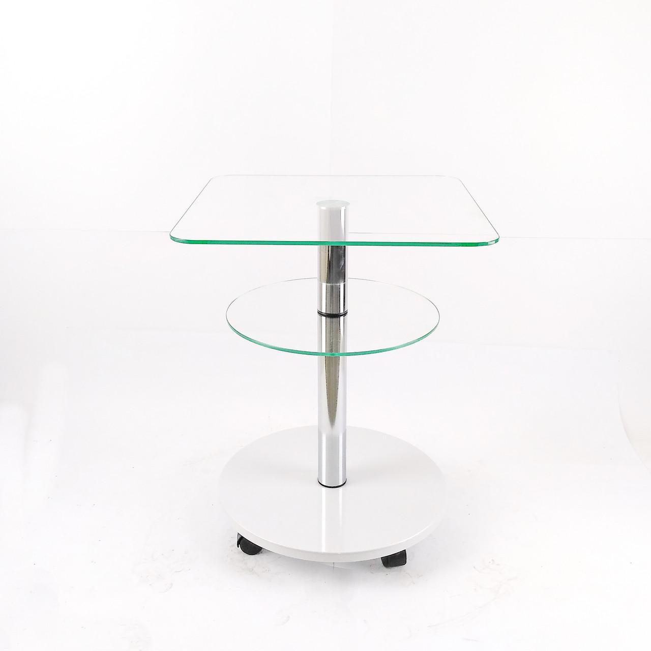 Стеклянный кофейный стол квадратный Commus Bravo Light400 Kv6 clear-white-chr50