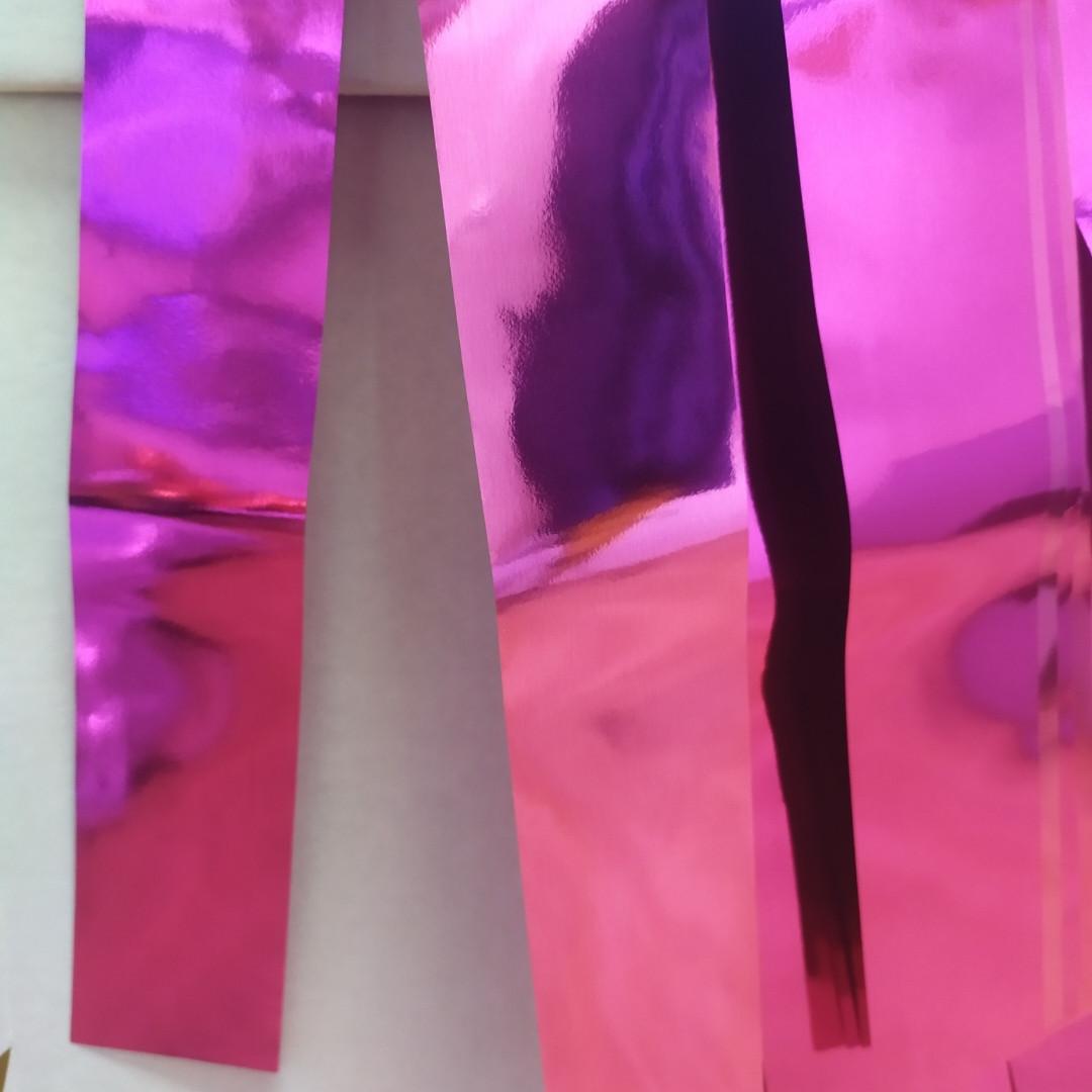 Лєнта фуксія (малиновий) фольга упаковка (30мм/195см/38шт)