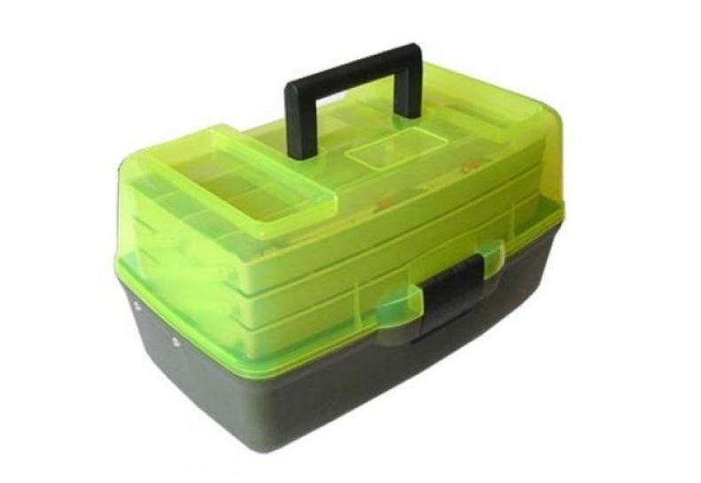Ящик для снастей AQT-1703T триярусний, з прозорою кришкою, 36х21.5х19.5 см