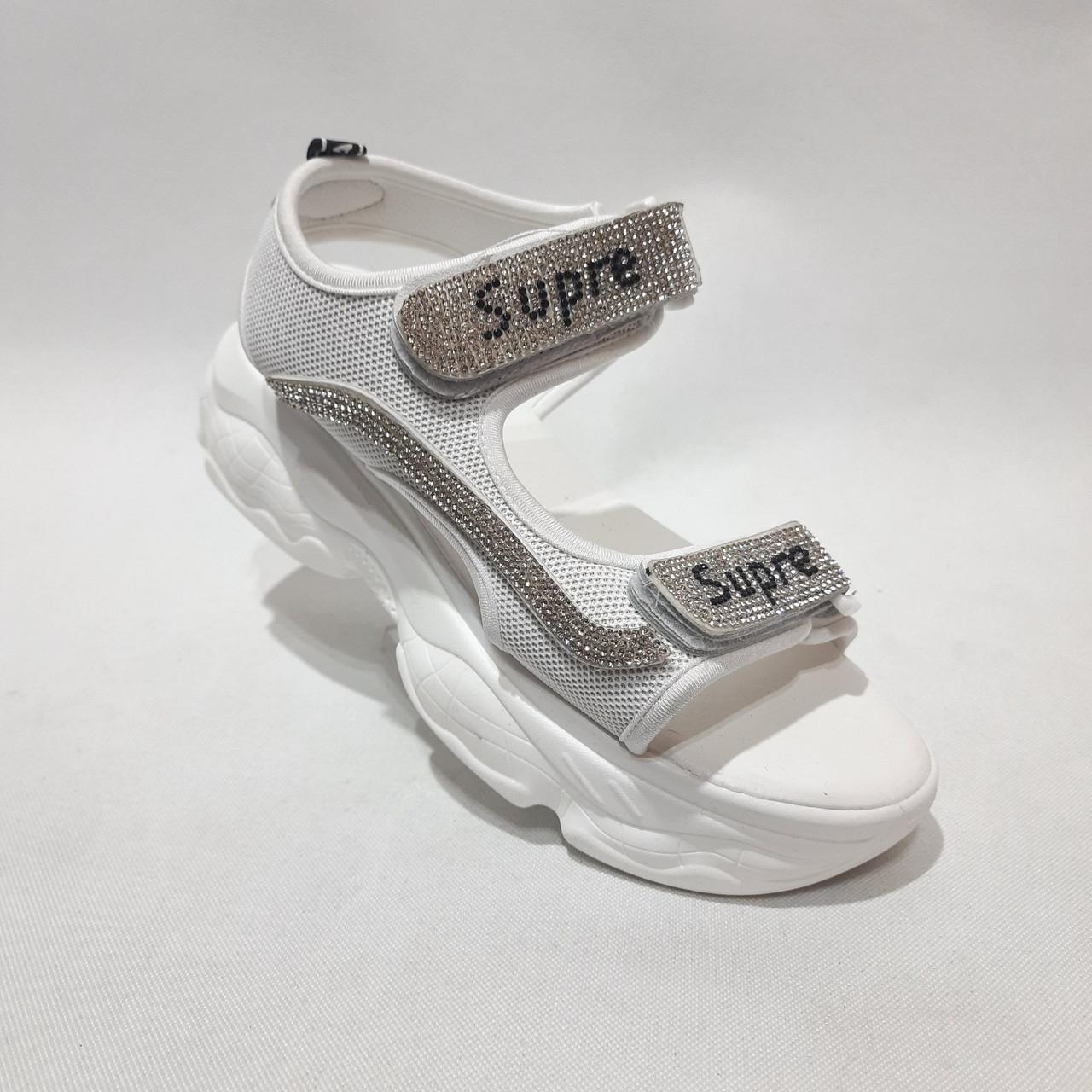 Босоножки женские, сандали летние на толстой подошве белые
