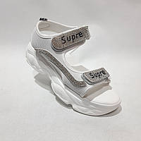 Босоножки женские, сандали летние на толстой подошве белые, фото 1