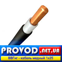 ВВГнг 1х25 - одножильный кабель, медный, силовой (ПВХ пластикат пониженной горючести)