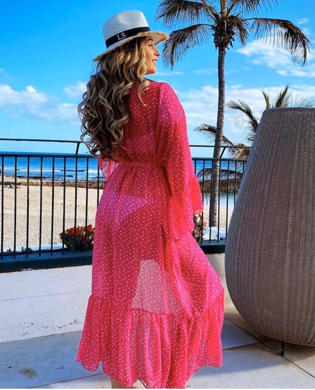 Пляжная туника розовая с пояском