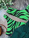 Зеленый раздельный купальник на одно плечо с животным принтом, фото 3