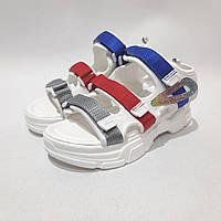 Босоножки женские, сандали летние на толстой подошве белые с серым, красным, синим