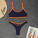 Синий раздельный купальник с топом в спортивном стиле, фото 3