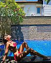 Желтый раздельный купальник на завязках со стразами, фото 10