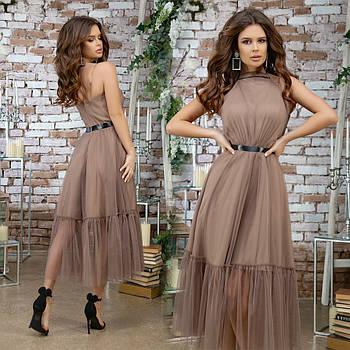 Женское красивое платье с фатином
