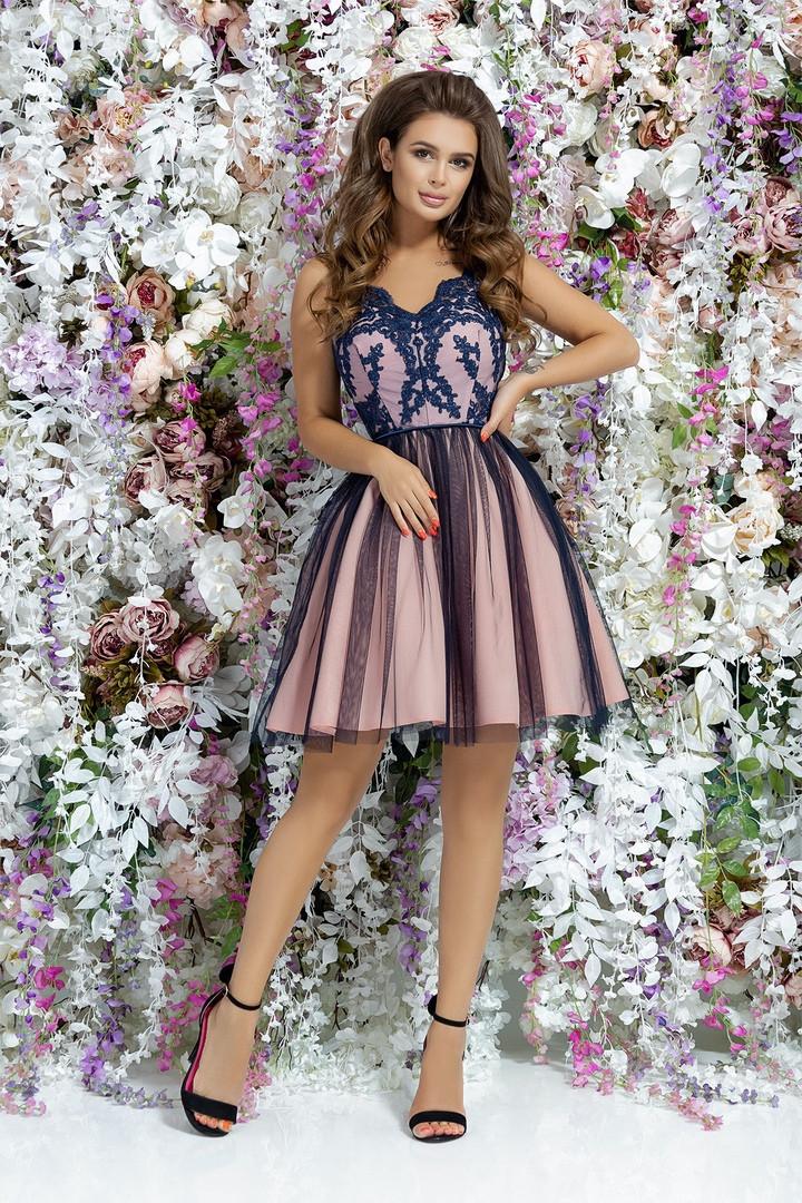 Женское модное платье с фатиновой юбкой