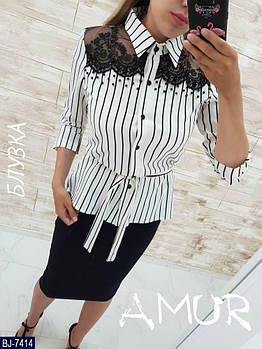 Женская стильная блузка с кружевом