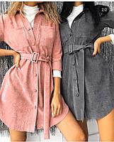 Женское платье-рубашка,женское вельветовое платье, фото 2