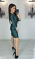 Женское кожаное платье, модное платье, фото 2