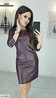Женское кожаное платье, модное платье, фото 4