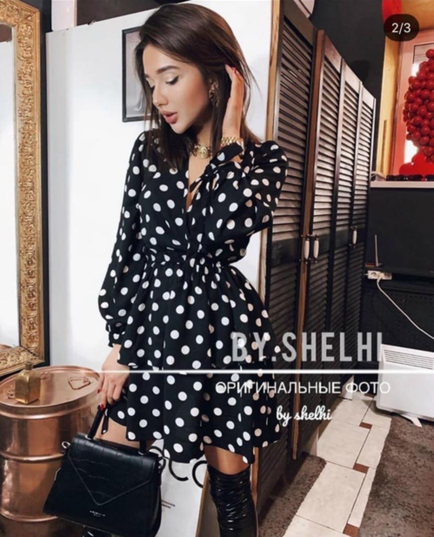 Женское стильное платье, модное платье-халат в горошек