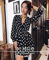 Женское стильное платье, модное платье-халат в горошек, фото 2