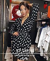 Женское стильное платье, модное платье-халат в горошек, фото 3