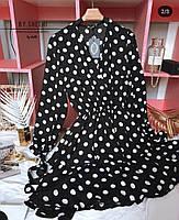 Женское стильное платье, модное платье-халат в горошек, фото 4