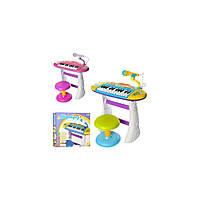 Детский орган пианино синтезатор со стульчиком и микрофоном BB383BD муз, свет