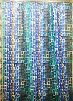 """Шторка для ванной """"Мозаика"""" текстильная 180x200 см цвет синий, код 533"""
