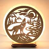 Соляной светильник круглый Волк на камне, фото 2