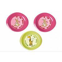 Набір дитячого посуду Nuvita тарілочки 6м+ 3шт. дрібні рожеві і салатова (NV1428Pink)
