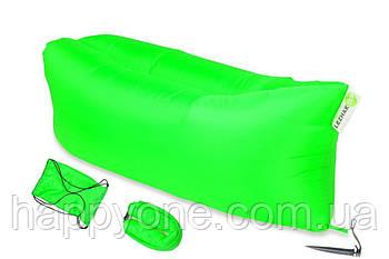 Надувной шезлонг-лежак RipStop (зеленый неон)