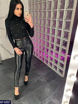Женские стильные кожаные брюки с шнуровкой