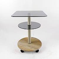 Стеклянный журнальный столик на колесиках квадратный Commus Bravo Light400 Kv6 gray-sequoia-bgs50