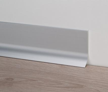 Широкий алюминиевый плинтус напольный 80мм. Profilpas Metal Line 91/8, анодированный серебристо-матовый