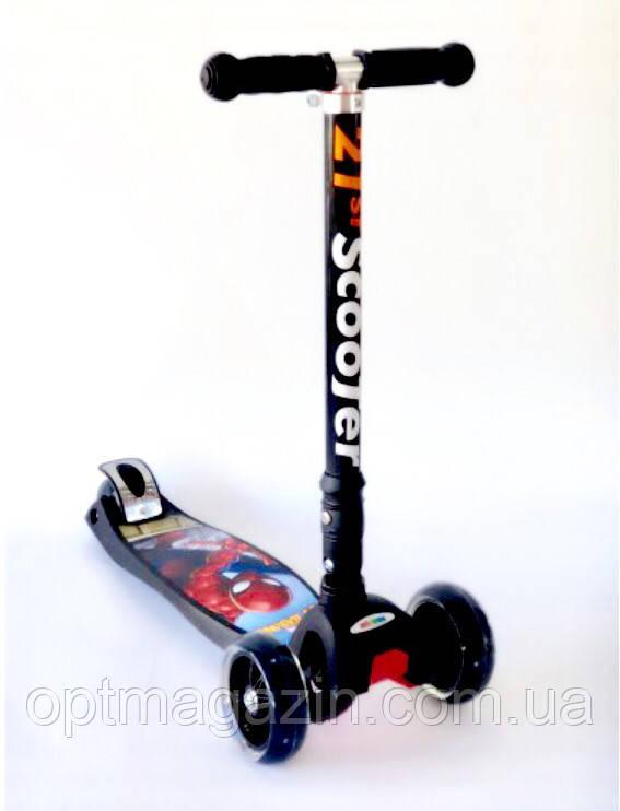 """Самокат Scooter 21st 403 MZ-1 Maxi со складной ручкой """"Спайдермен"""" Spider-man"""