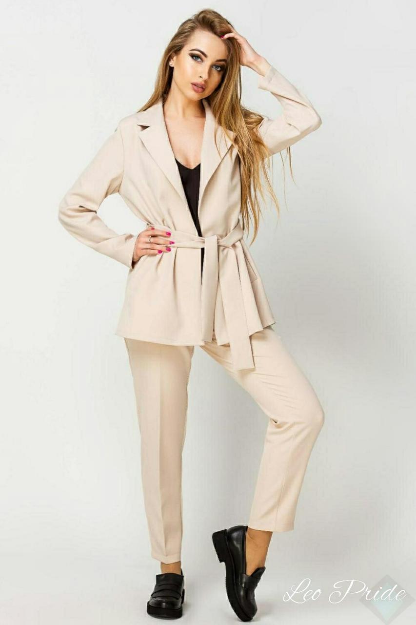 Женский брючный костюм с кардиганом и зауженными брюками vN8227