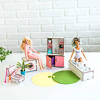 """""""Ванная"""" набор кукольной мебели NestWood для Барби, бело-розовая"""