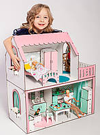 """""""ЛЮКС МИНИ"""" кукольный домик NestWood для Барби, без мебели, розовый"""