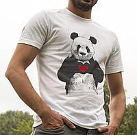 """Мужская летняя футболка с рисунком """"Панда с сердцем"""".  100% хлопок"""