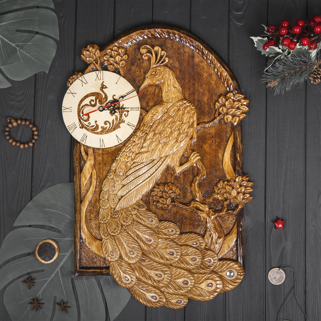 Часы настенные Жар-птица, ручная резьба + выжигание