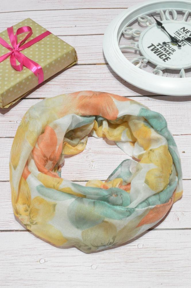 Женский шарф снуд красивый из хлопка легкий на шею и голову Eternity оранжевого цвета