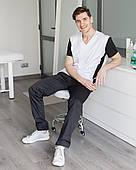 Медицинский мужской костюм Милан черный-белый